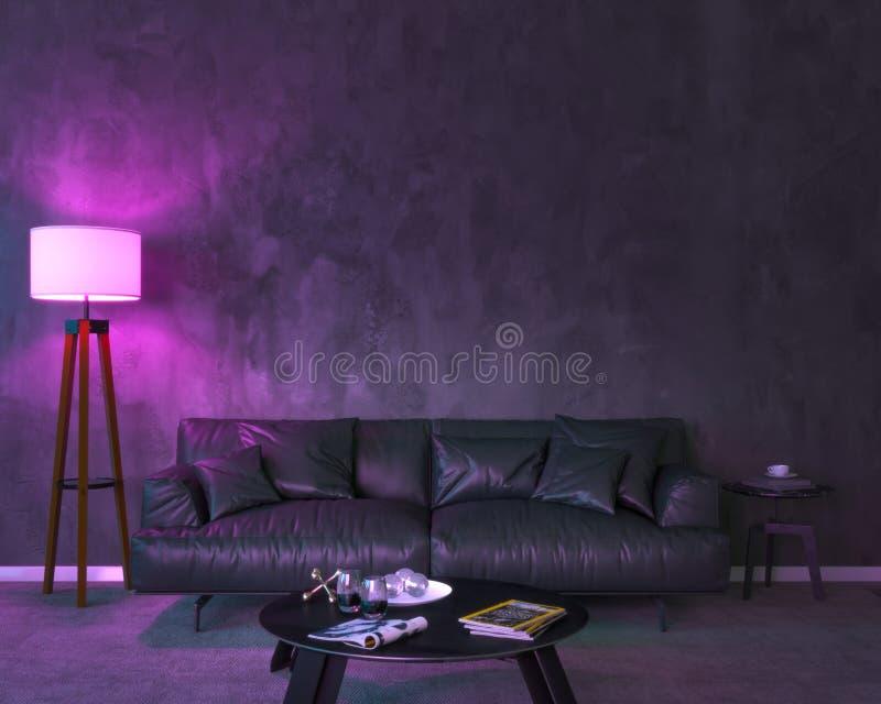 Interior da noite com luzes coloridas roxas ilustração stock