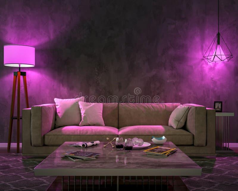 Interior da noite com luzes coloridas roxas ilustração do vetor