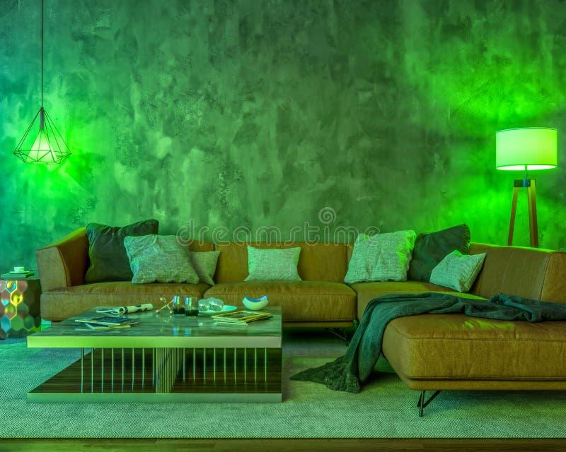 Interior da noite com luzes coloridas verdes ilustração stock