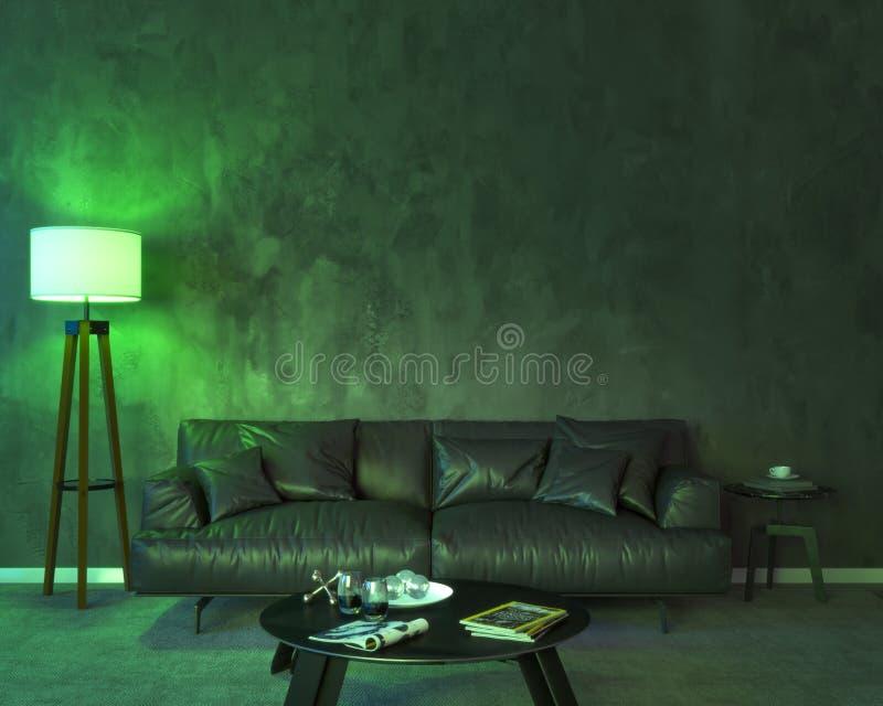 Interior da noite com luzes coloridas verdes ilustração do vetor