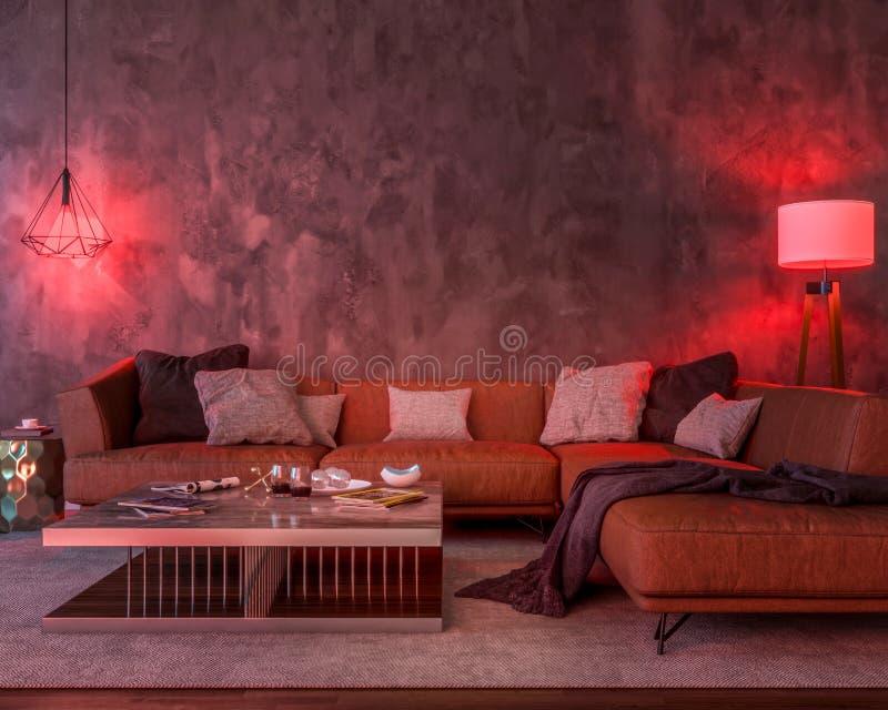 Interior da noite com luzes coloridas vermelhas ilustração stock