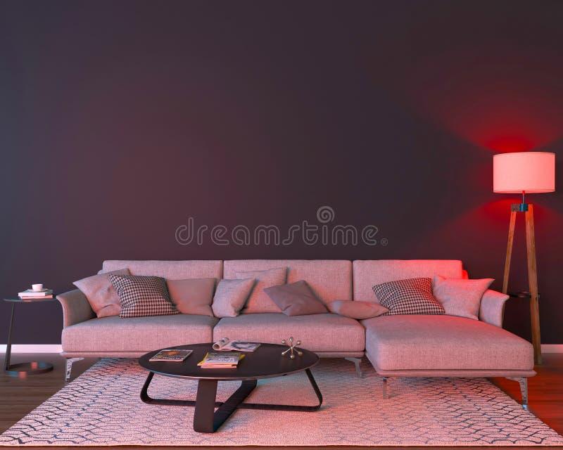 Interior da noite com luzes coloridas vermelhas ilustração royalty free