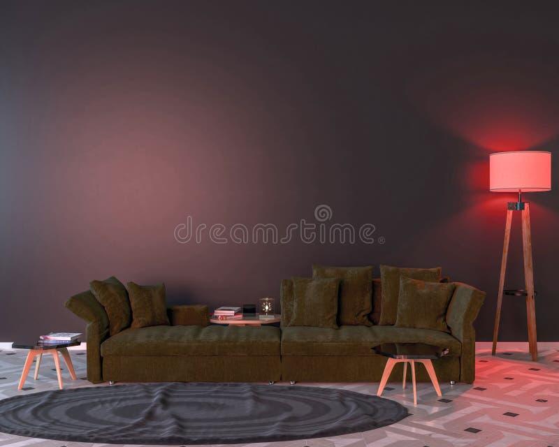Interior da noite com luzes coloridas vermelhas ilustração do vetor