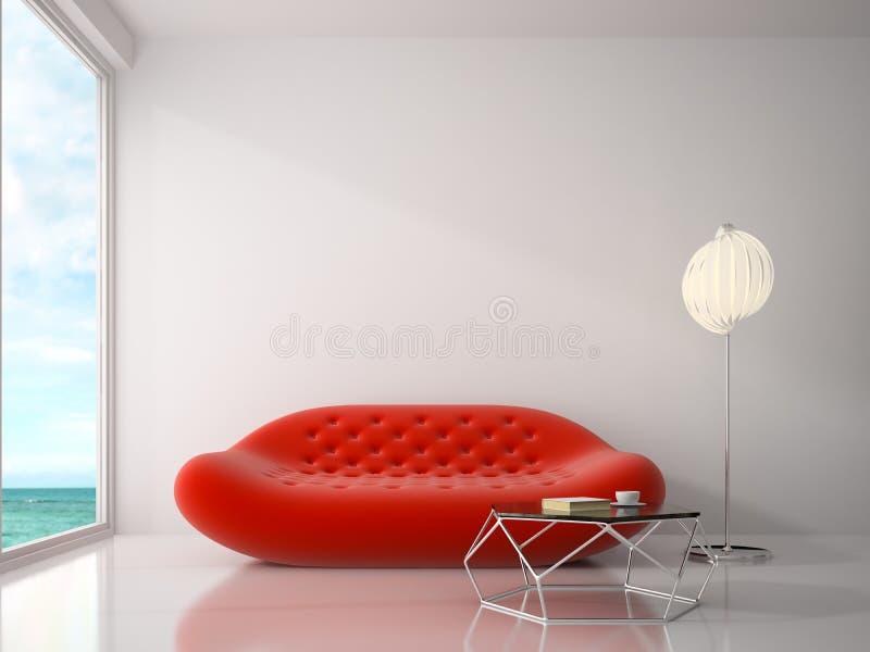 Interior da rendição da sala 3D do projeto moderno foto de stock