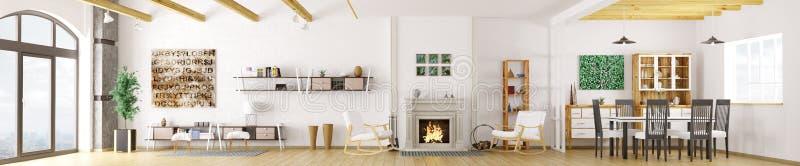 Interior da rendição moderna do apartamento 3d ilustração stock