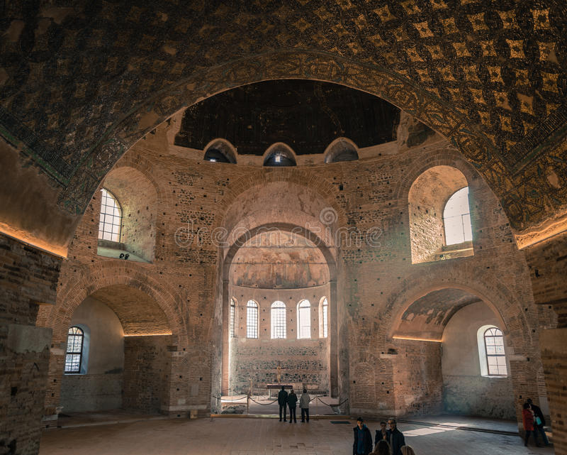Interior da rotunda de Galerius em Tessalónica - Grécia fotografia de stock