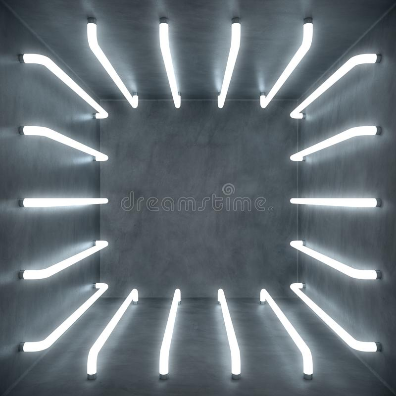 interior da sala branca do sumário da ilustração 3D com as lâmpadas de néon de fulgor branco Fundo futurista da arquitetura Branc ilustração royalty free