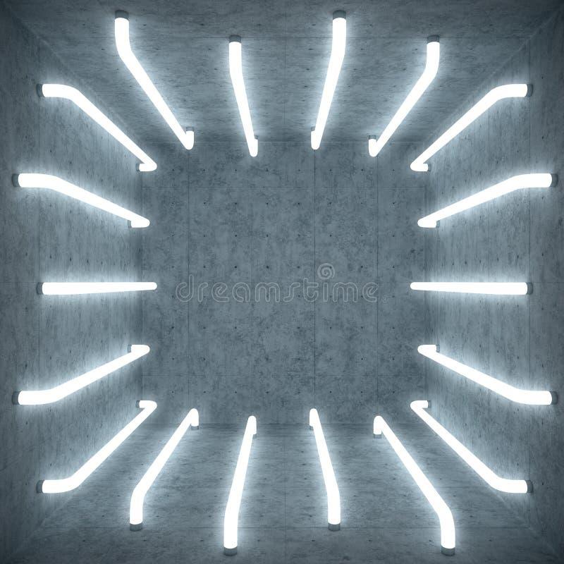 interior da sala branca do sumário da ilustração 3D com as lâmpadas de néon de fulgor branco Fundo futurista da arquitetura Branc ilustração do vetor