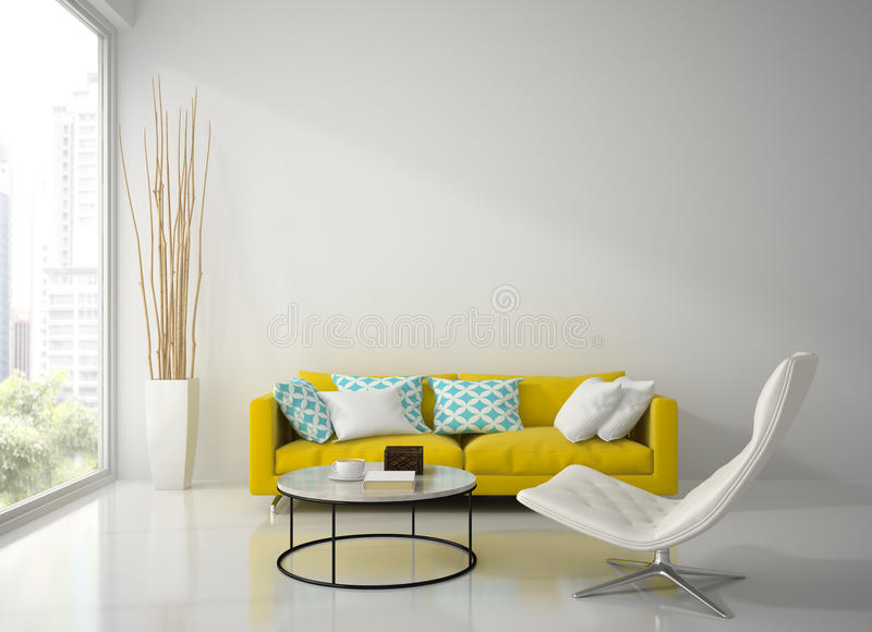 Interior da sala branca moderna com rendição amarela do sofá 3D ilustração royalty free