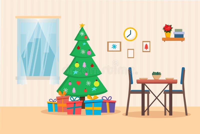 Interior da sala com árvore de Natal, presentes, janela e tabela de jantar Ilustração lisa do vetor do estilo dos desenhos animad ilustração do vetor