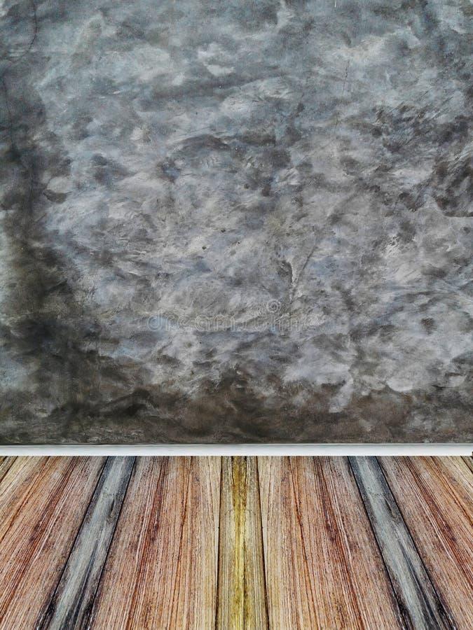 Interior da sala com estilo do sótão do muro de cimento e assoalho da madeira ilustração royalty free