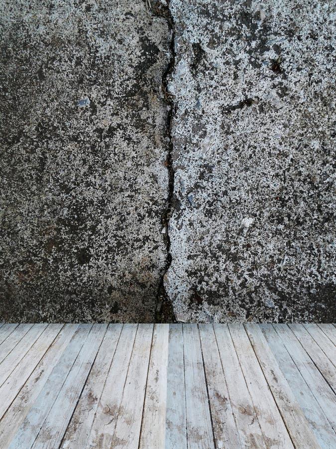 Interior da sala com estilo do sótão do muro de cimento e assoalho da madeira ilustração do vetor