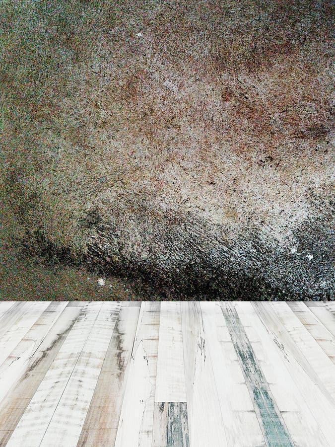 Interior da sala com estilo do sótão do muro de cimento e assoalho da madeira ilustração stock
