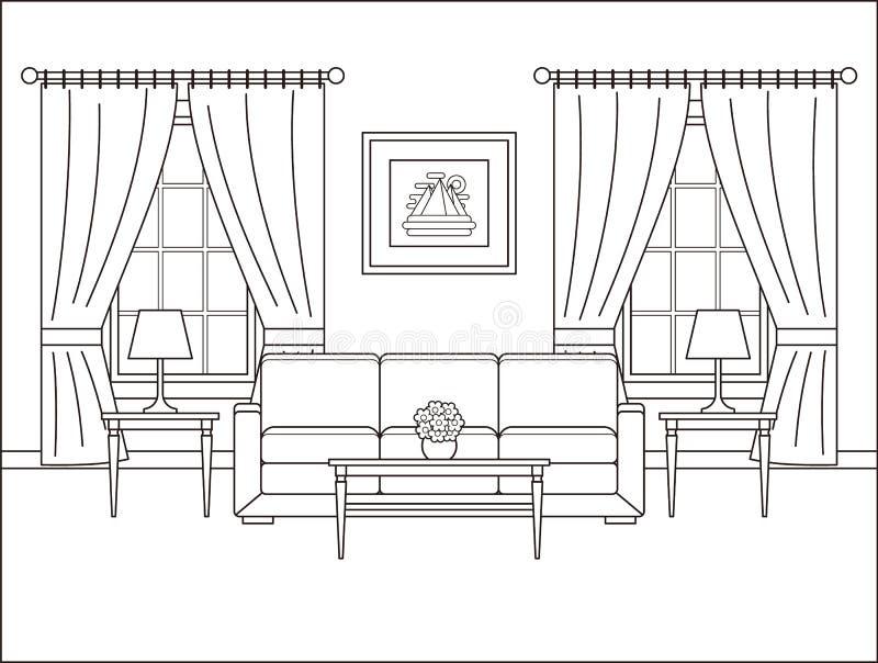 Interior da sala com a janela no projeto liso Illustr do vetor do esboço ilustração royalty free