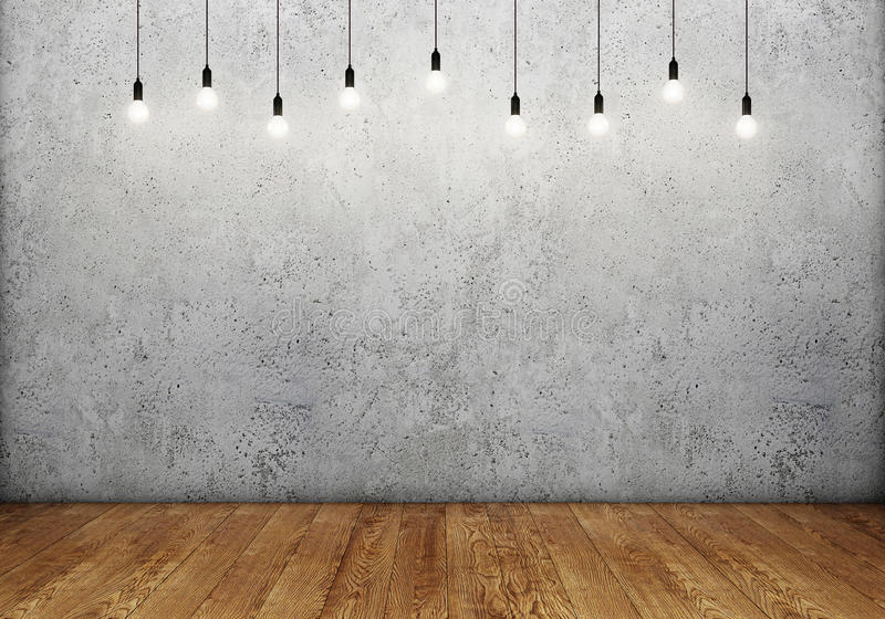Interior da sala com muro de cimento vazio, as ampolas retros e o assoalho de madeira ilustração royalty free