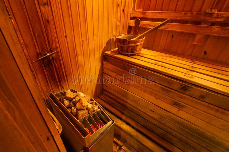 Interior da sala da sauna imagens de stock