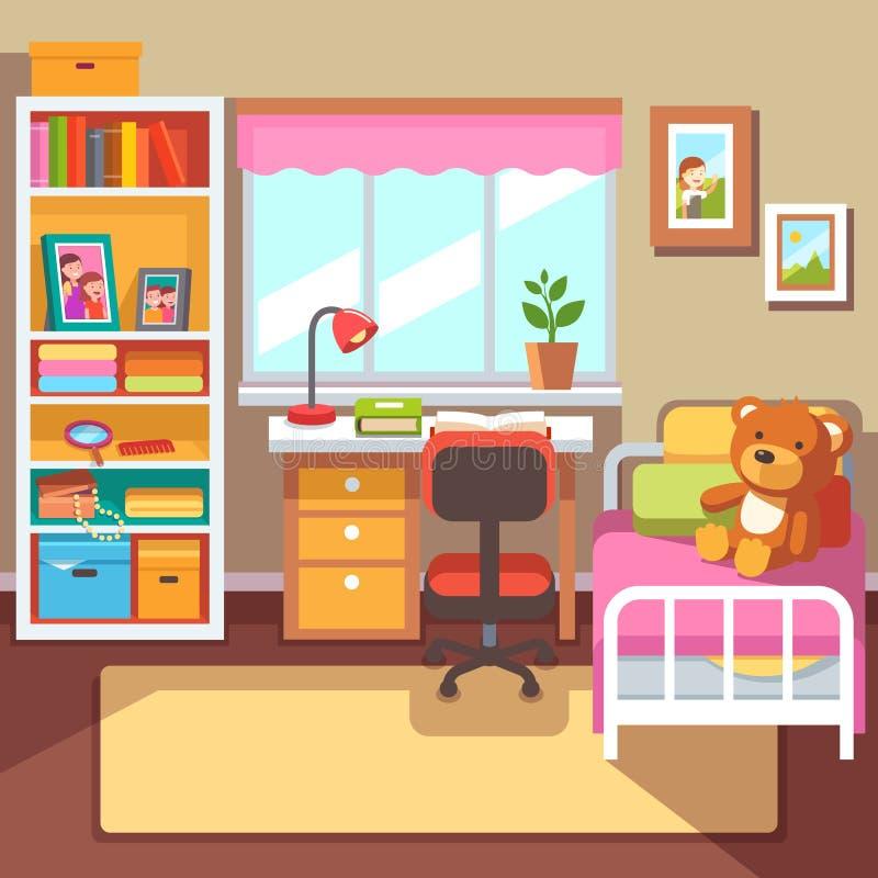 Interior da sala das meninas do pré-escolar ou do estudante da escola ilustração do vetor