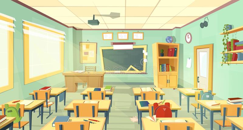 Interior da sala de aula da escola do vetor Universidade, conceito da faculdade ilustração do vetor