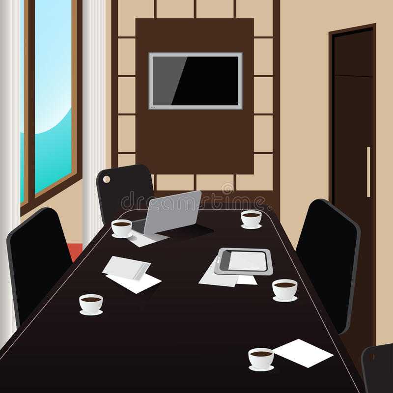 Interior da sala de conferências com tabela, tabuleta e portátil ilustração stock