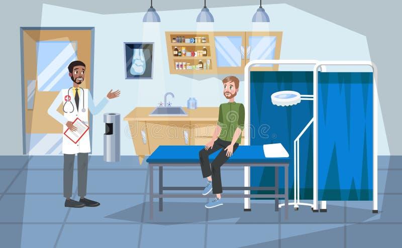 Interior da sala de hospital Doutor e interior paciente ilustração royalty free