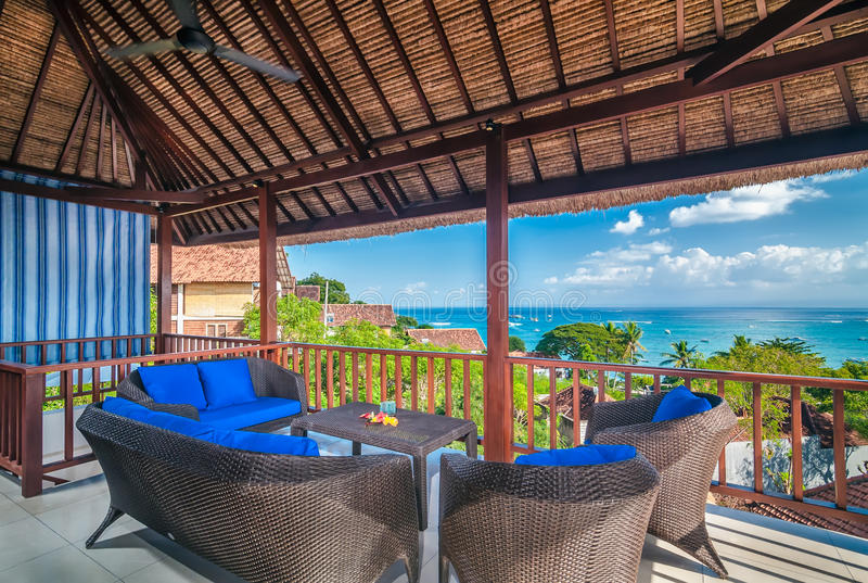 Interior da sala de hotel, Bali fotografia de stock