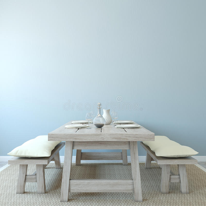 Interior da sala de jantar. ilustração do vetor