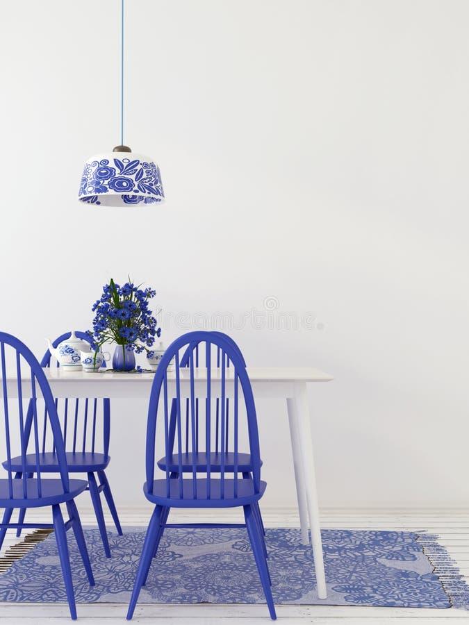 Interior da sala de jantar, feito em cores azuis e brancas ilustração royalty free