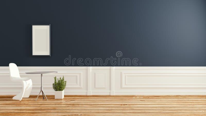 Interior da sala de visitas com a cadeira no revestimento de madeira e escuro modernos - parede azul Quarto vazio rendi??o 3d ilustração do vetor