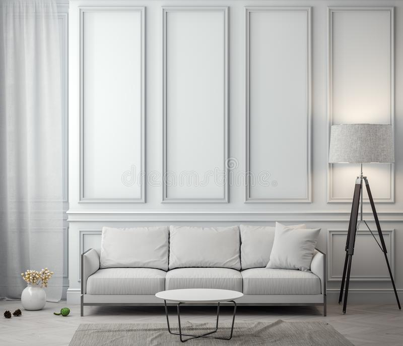 Interior da sala de visitas com parede clássica, rendição 3D imagem de stock