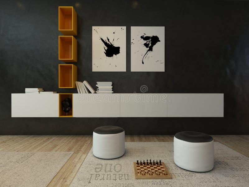 Interior da sala de visitas com parede preta e mobília moderna ilustração royalty free