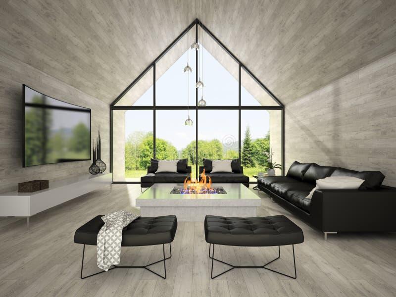 Interior da sala de visitas 3D do projeto moderno que rende 2 imagem de stock