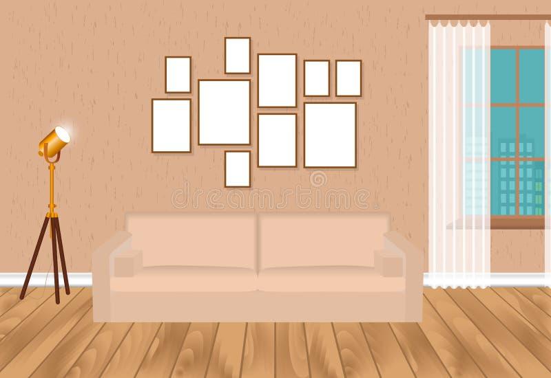 Interior da sala de visitas do modelo no estilo do moderno com o revestimento dos quadros, do sofá, da lâmpada, do muro de ciment ilustração do vetor