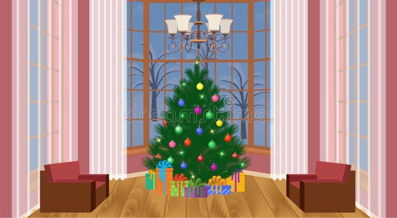 Interior da sala de visitas do projeto do Natal com árvore de Natal e pilha dos presentes Sala doméstica do Xmas com janelas gran ilustração stock