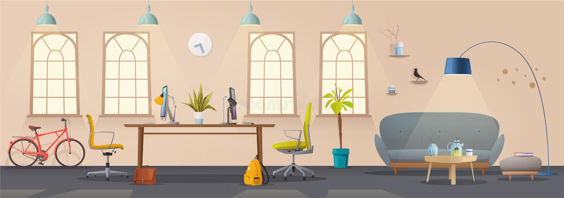 Interior da sala de visitas e do escritório Apartamento, escandinavo ou projeto moderno do sótão ilustração do vetor