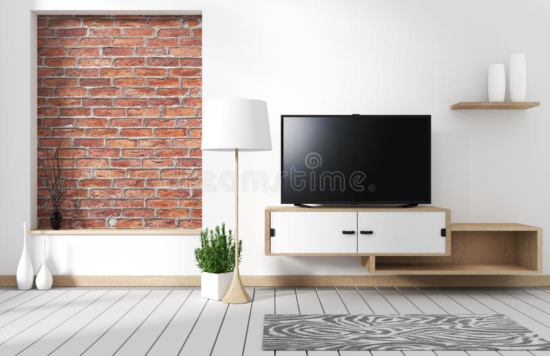 Interior da sala de visitas de Minimalistic com um armário de madeira e uma tevê do tela panorâmico - estilo do sótão rendi??o 3d ilustração do vetor