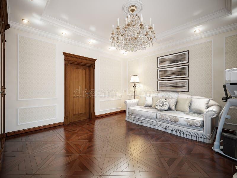 Interior da sala de visitas no estilo clássico fotografia de stock