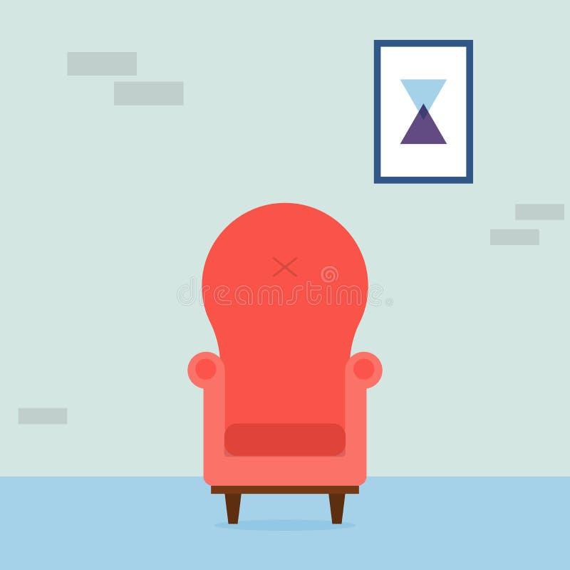 Interior da sala de visitas Poltrona vermelha acolhedor do vintage e imagem abstrata na sala Elementos interiores Ilustração do v ilustração royalty free