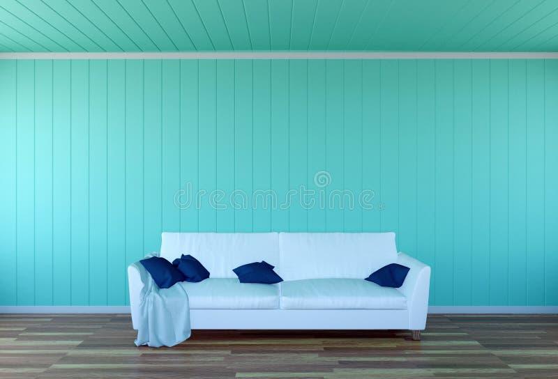 Interior da sala de visitas - sofá do couro branco e painel de parede verde com espaço imagens de stock royalty free