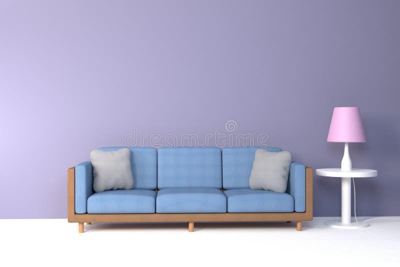 Interior da sala de visitas sof? e descanso macios perto da rendi??o macia da parede 3D da cor da l?mpada - ilustra??o ilustração stock