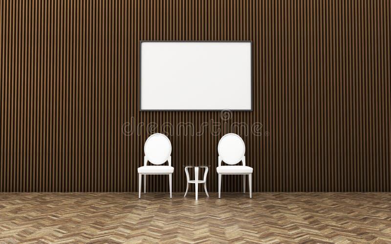 Interior da sala de visitas zombaria do cartaz acima com quadro vazio Interior do vintage Relaxe o espa?o na casa ilustração royalty free
