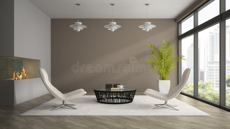 Interior da sala do projeto moderno com o renderi branco das poltronas 3D