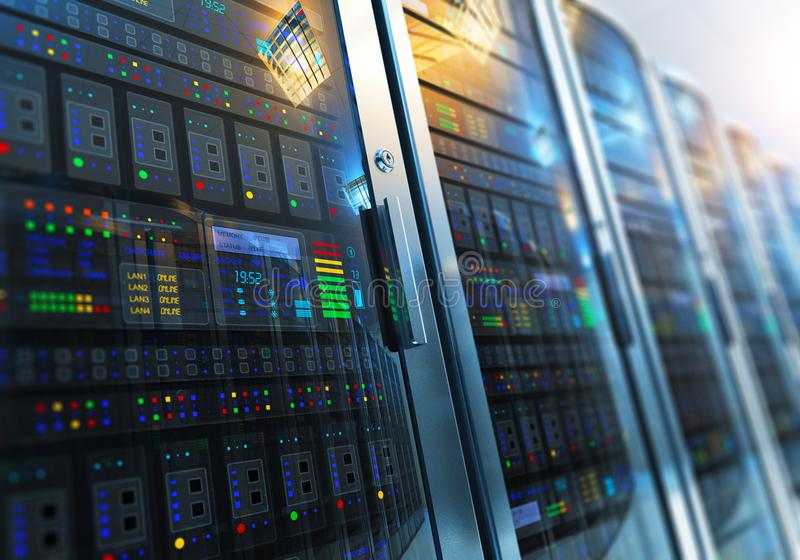 Interior da sala do servidor no datacenter ilustração royalty free
