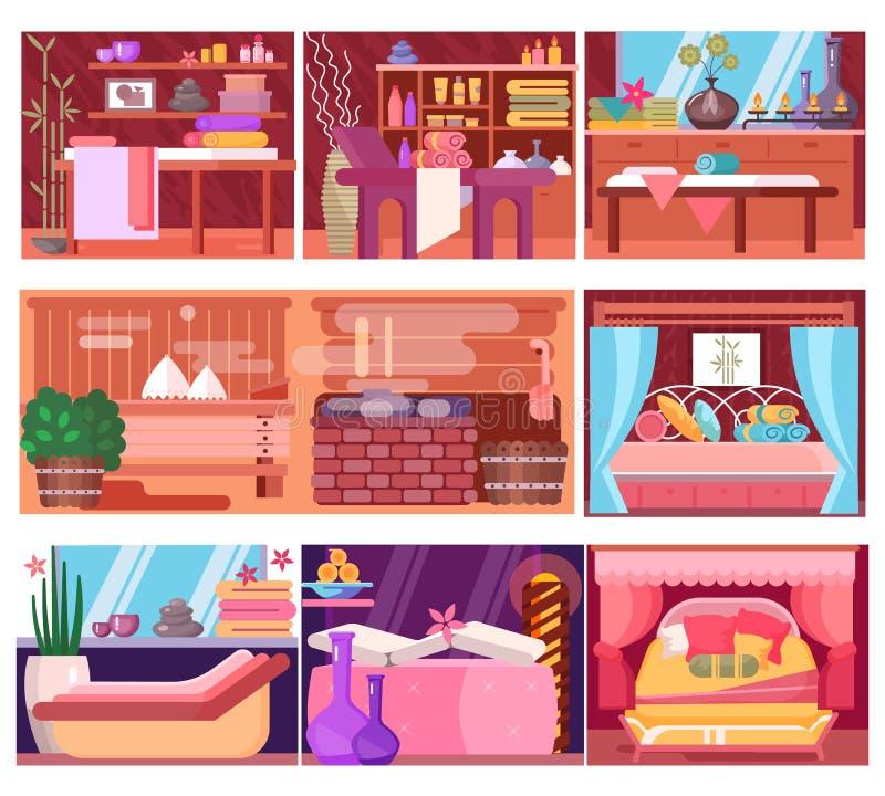 Interior interior da sala da massagem do vetor dos termas para a terapia de abrandamento e tratamento da beleza ou dos cuidados m ilustração do vetor