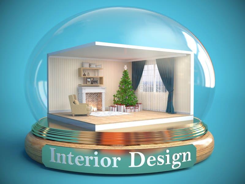Interior da sala na bola de vidro ilustração 3D ilustração do vetor