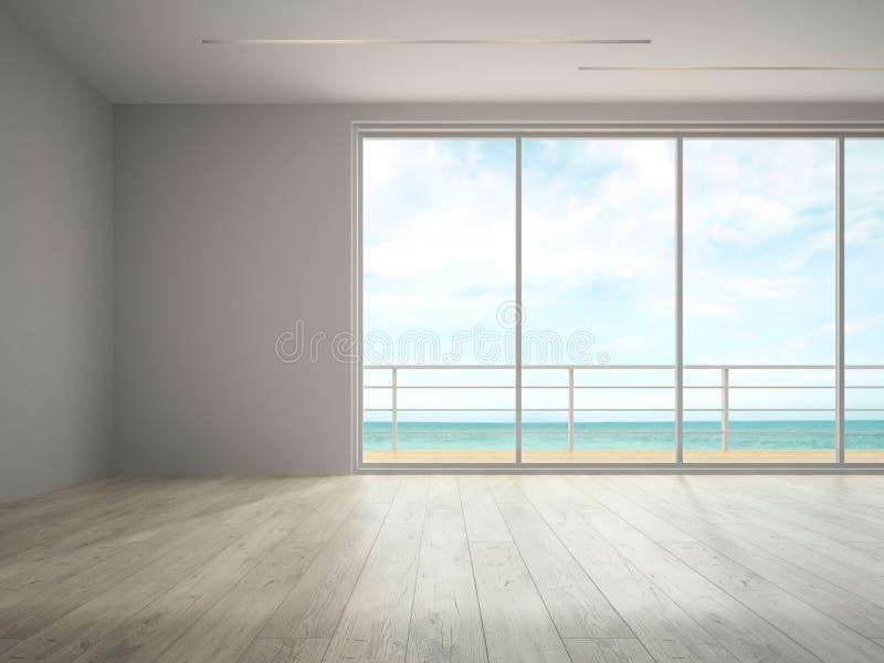 Interior da sala vazia com rendição da opinião 3D do mar imagens de stock royalty free