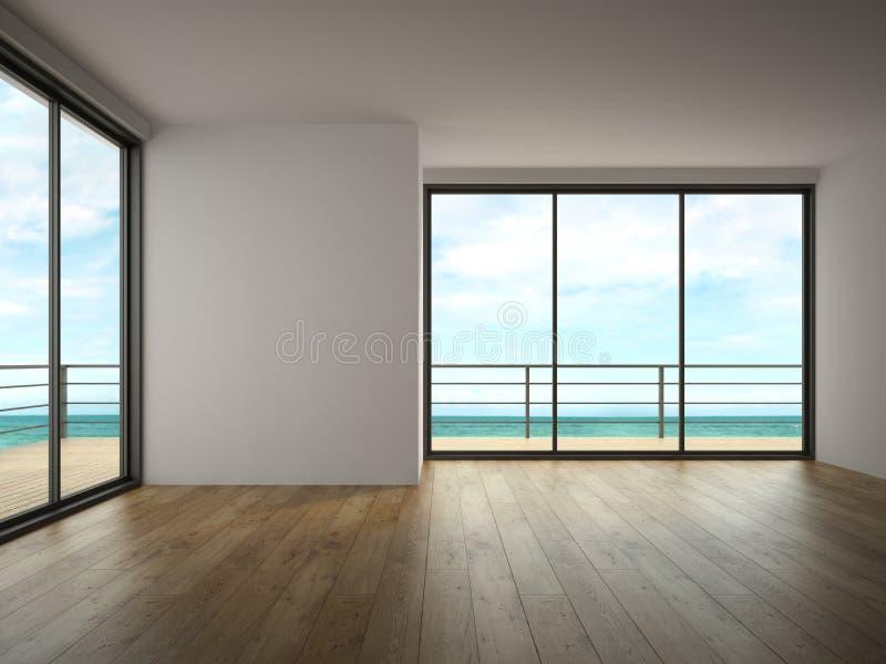 Interior da sala vazia com rendição da opinião 3D do mar fotografia de stock