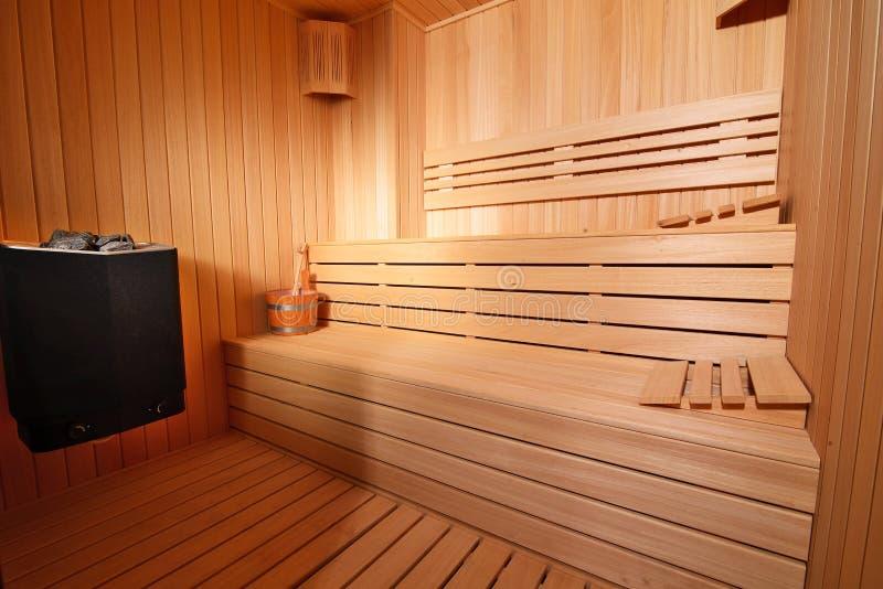 Interior da sauna foto de stock