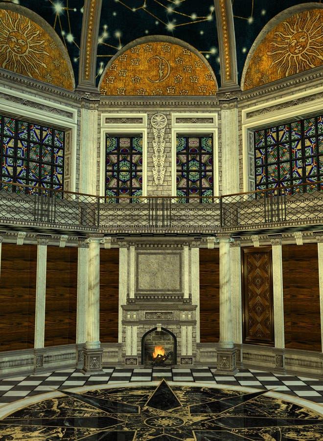 Interior da torre de um feiticeiro ilustração stock