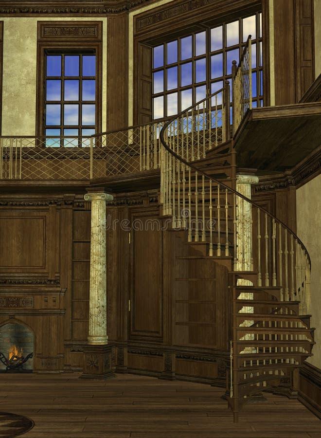 Interior da torre de um feiticeiro ilustração do vetor