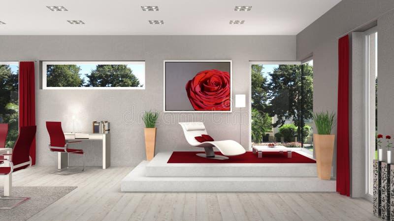 Interior da vida e da sala de jantar com janelas modernas ilustração royalty free